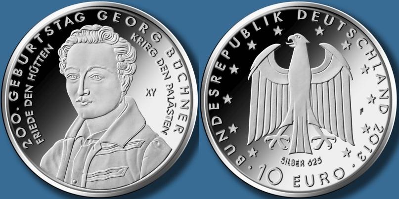 10 euro 200 años del nacimiento de  georg buchner